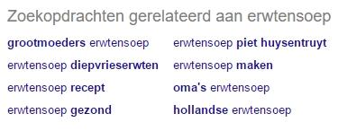 Google Suggest toont gerelateerde-zoekopdrachten