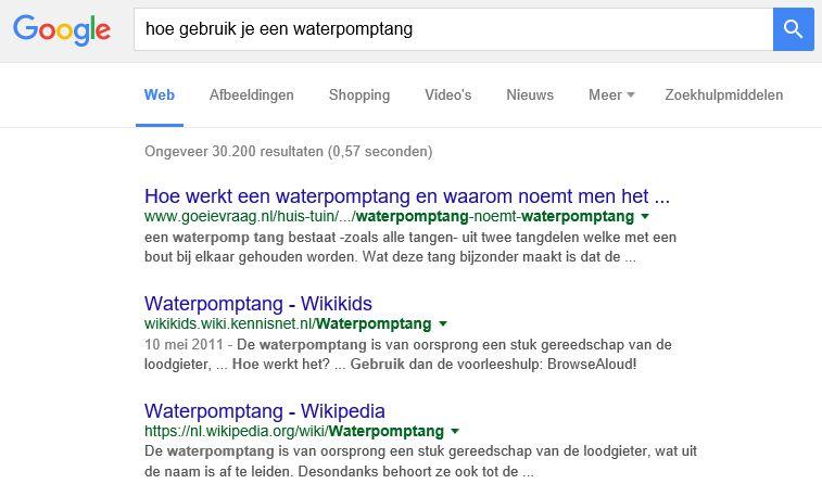 Google begrijpt intentie zoekopdracht