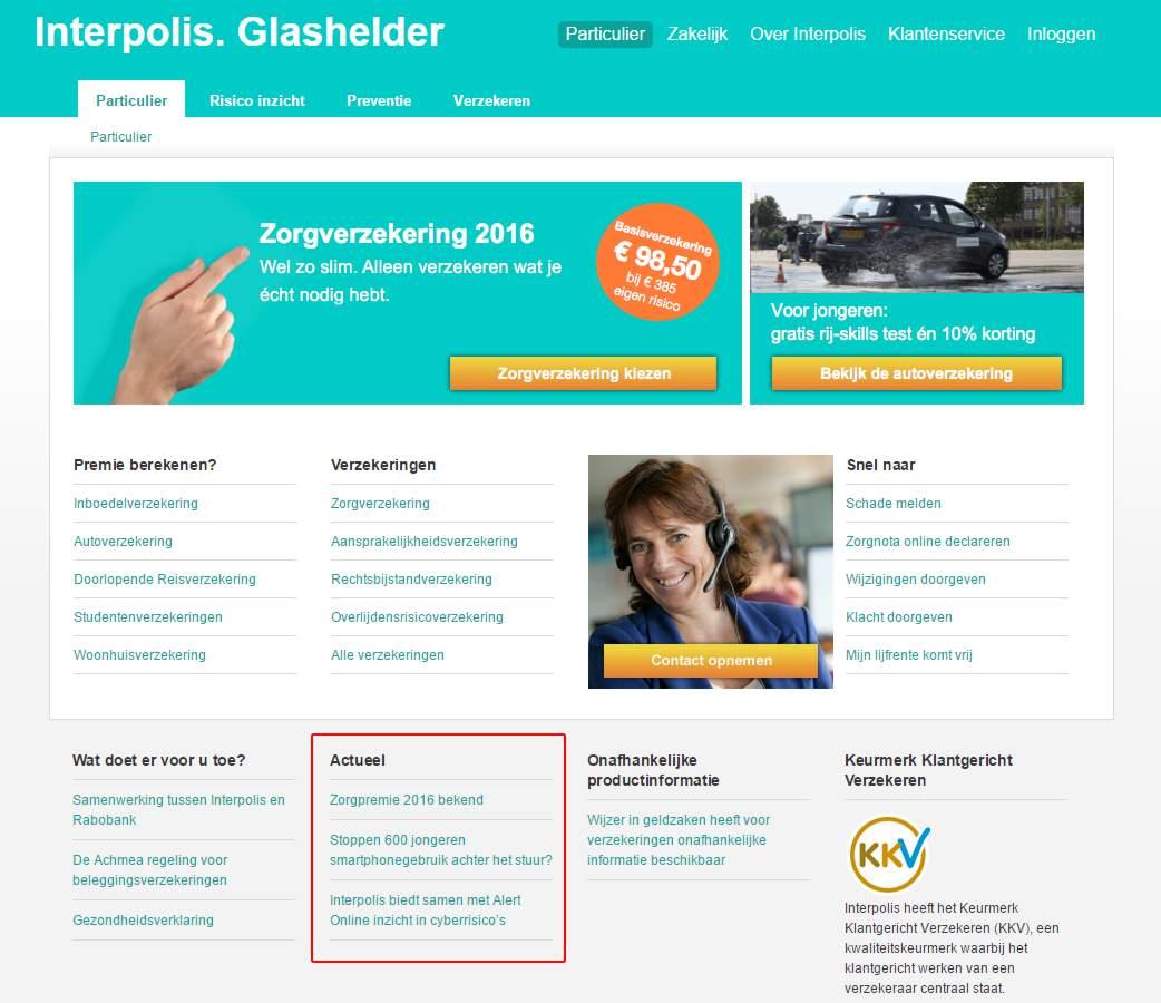 Interpolis heeft nieuws op homepage van website