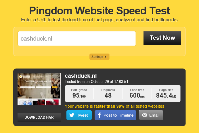 Website testen met Pingdom Tools