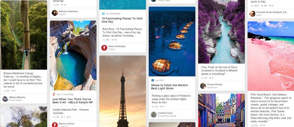 Pinterest gebruikers geïnteresseerd in handwerk, koken, kunst en reizen.