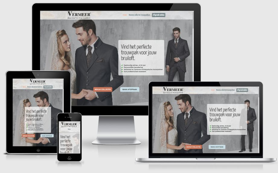 Voorbeeld webdesign voor trouwpakken kledingwinkel